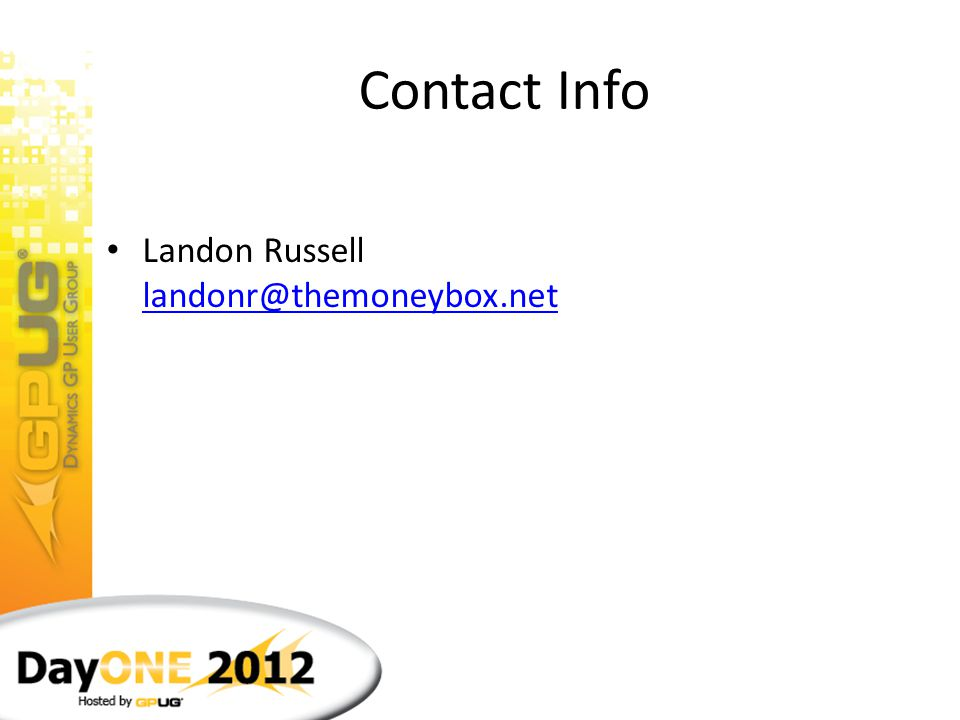 Contact Info Landon Russell landonr@themoneybox.net