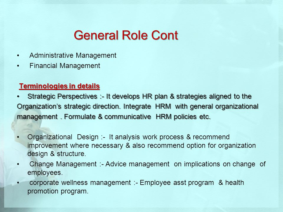 General Role Cont Administrative Management Financial Management