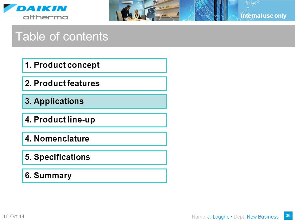 Table of contents 1. Product concept 2. Product features