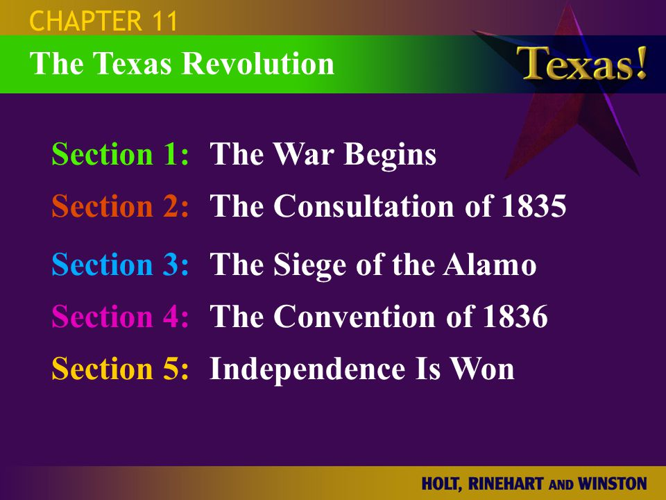 Section 1: The War Begins Section 2: The Consultation of 1835