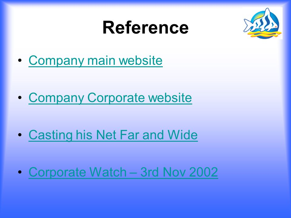Reference Company main website Company Corporate website