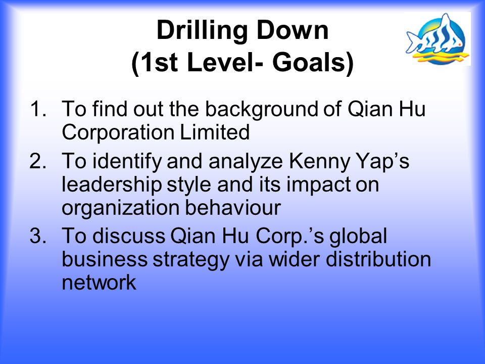 Drilling Down (1st Level- Goals)