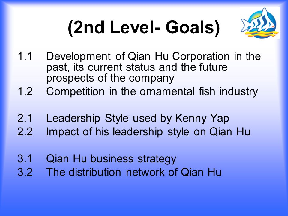 (2nd Level- Goals) 1.1 Development of Qian Hu Corporation in the past, its current status and the future prospects of the company.