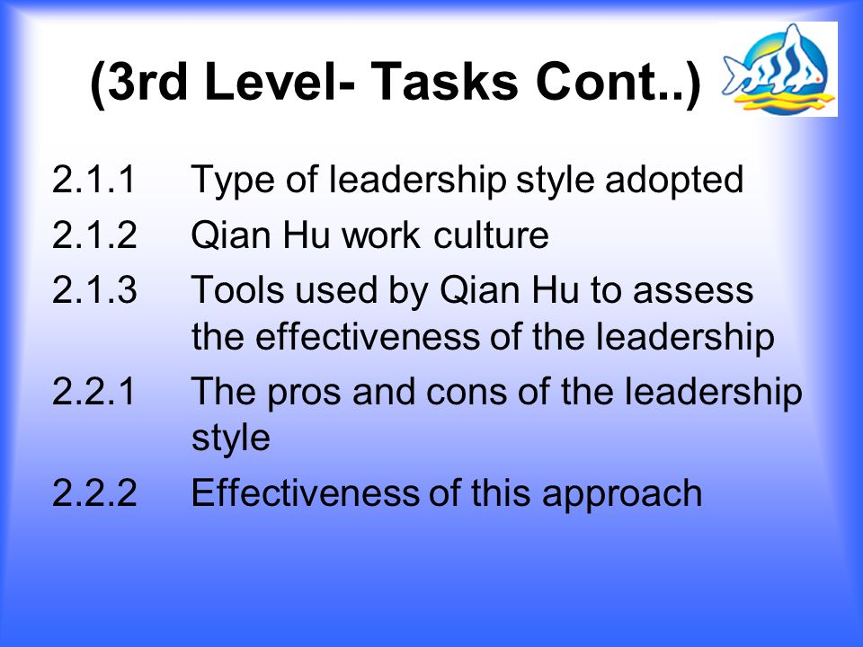 (3rd Level- Tasks Cont..) 2.1.1 Type of leadership style adopted