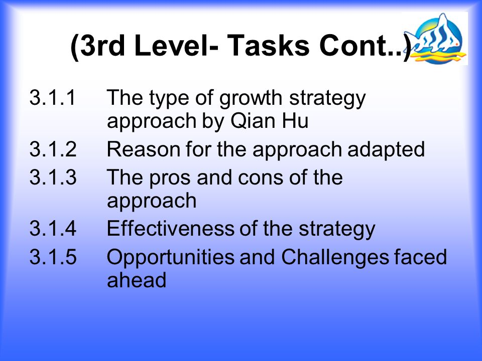 (3rd Level- Tasks Cont..) 3.1.1 The type of growth strategy approach by Qian Hu. 3.1.2 Reason for the approach adapted.