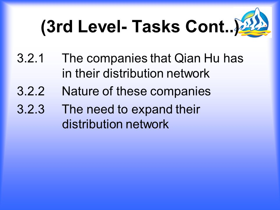 (3rd Level- Tasks Cont..) 3.2.1 The companies that Qian Hu has in their distribution network.