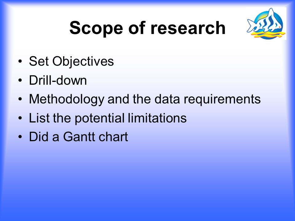 Scope of research Set Objectives Drill-down