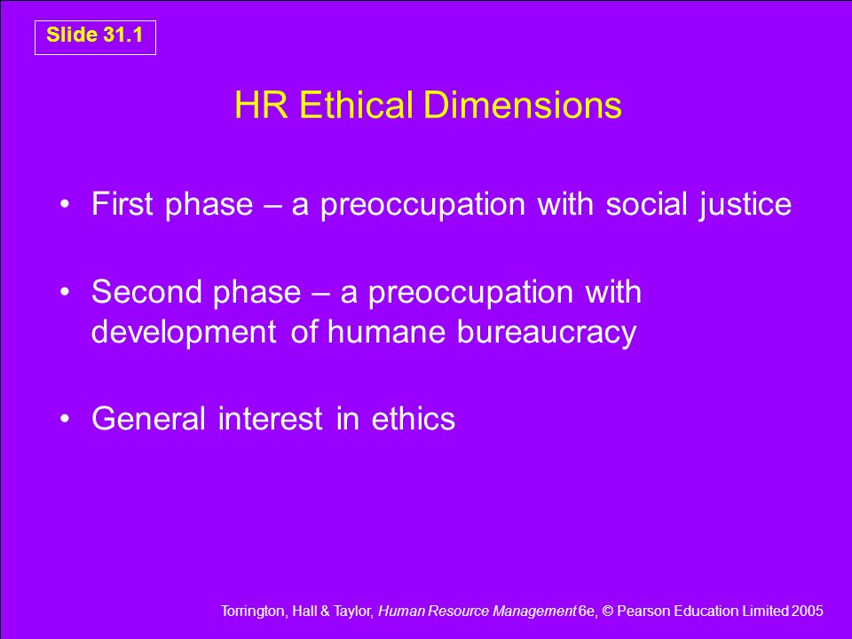 HR Ethical Dimensions First phase – a preoccupation with social justice. Second phase – a preoccupation with development of humane bureaucracy.