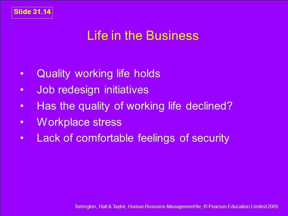 Life in the Business Quality working life holds
