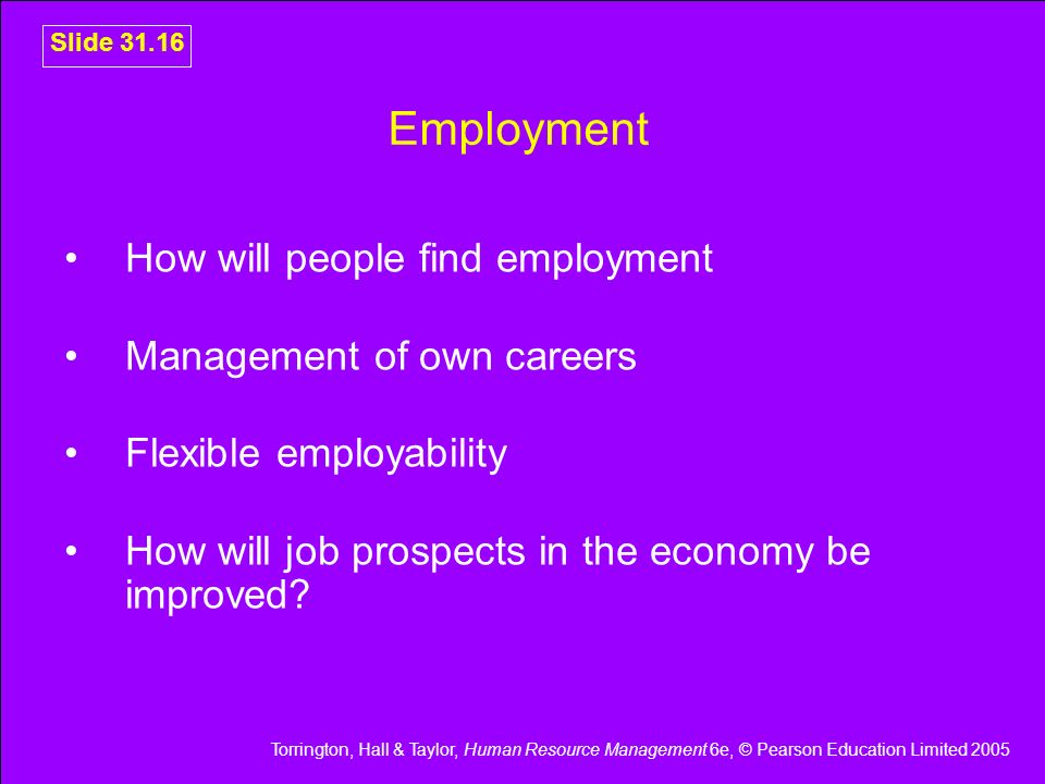 Employment How will people find employment Management of own careers