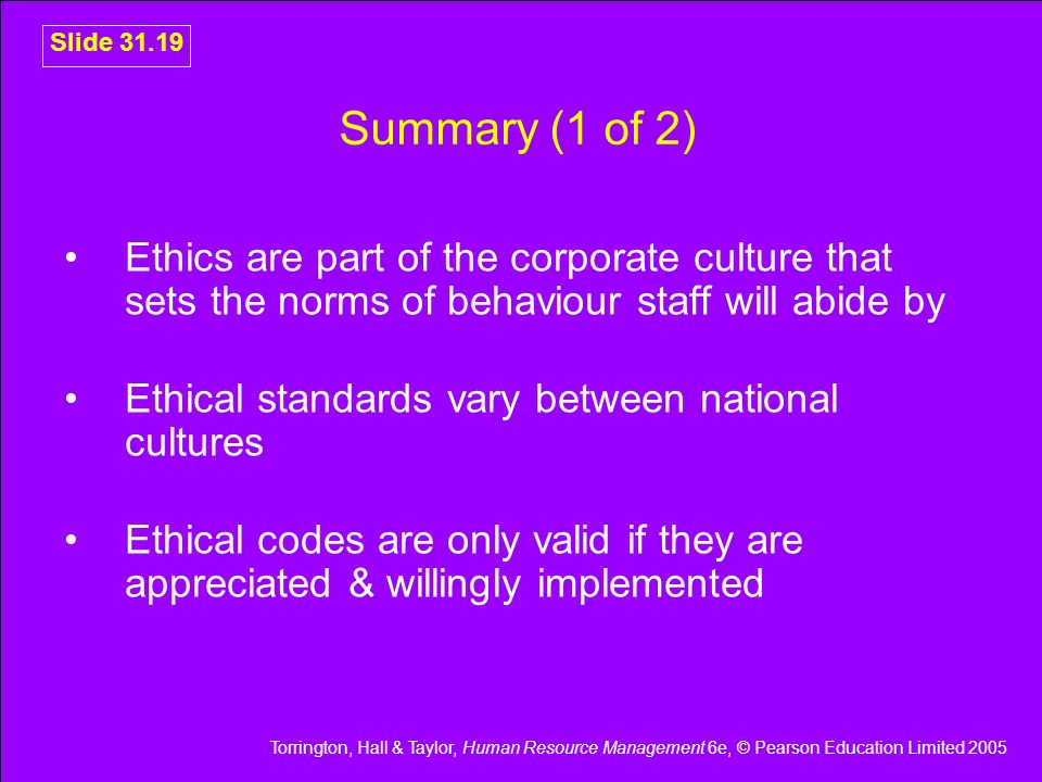 Summary (1 of 2) Ethics are part of the corporate culture that sets the norms of behaviour staff will abide by.
