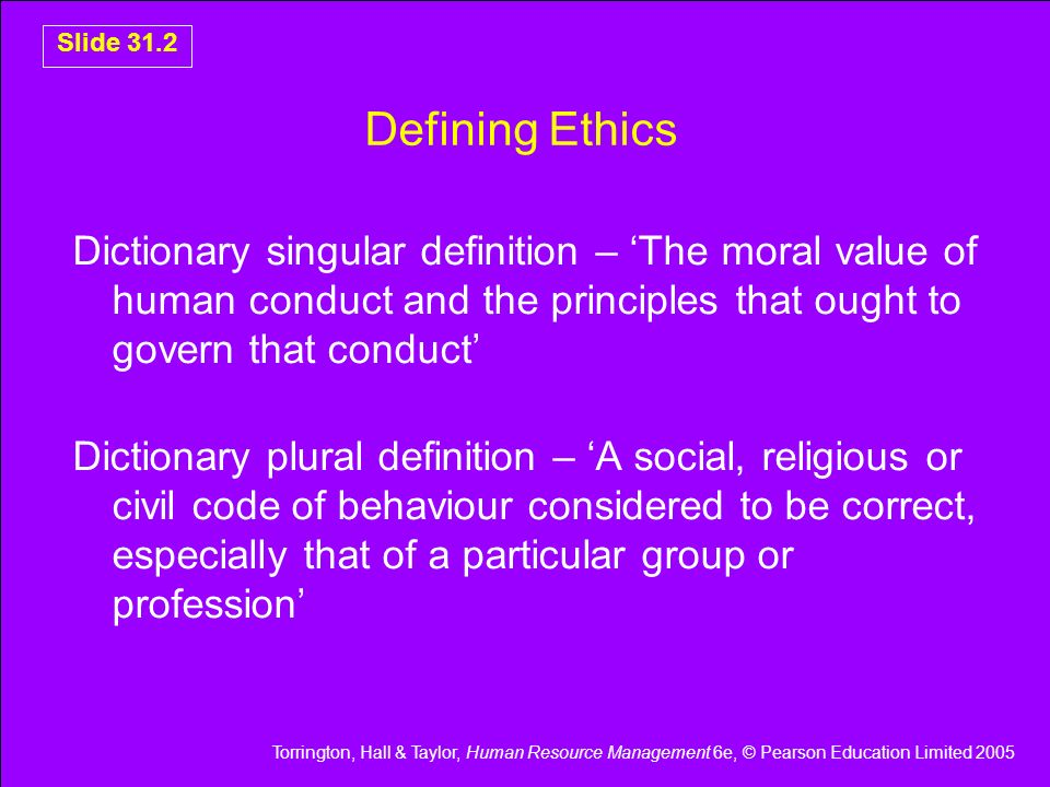 Defining Ethics Dictionary singular definition – 'The moral value of human conduct and the principles that ought to govern that conduct'