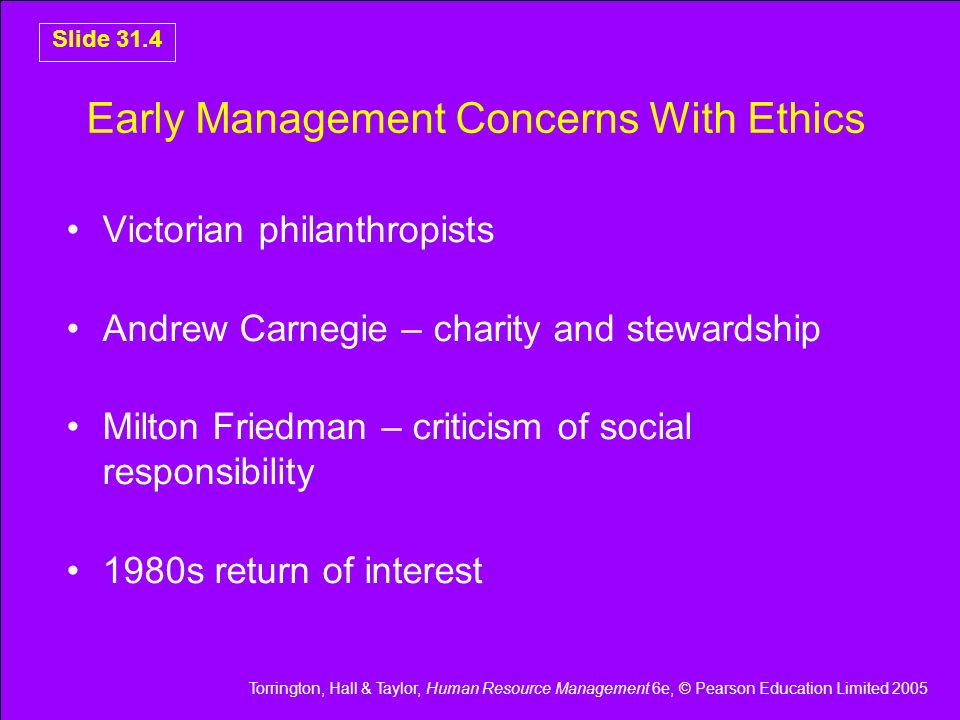 Early Management Concerns With Ethics