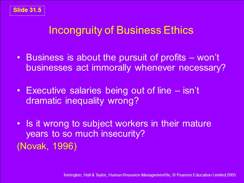 Incongruity of Business Ethics