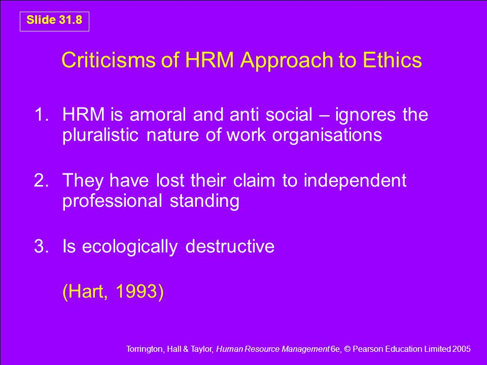 Criticisms of HRM Approach to Ethics