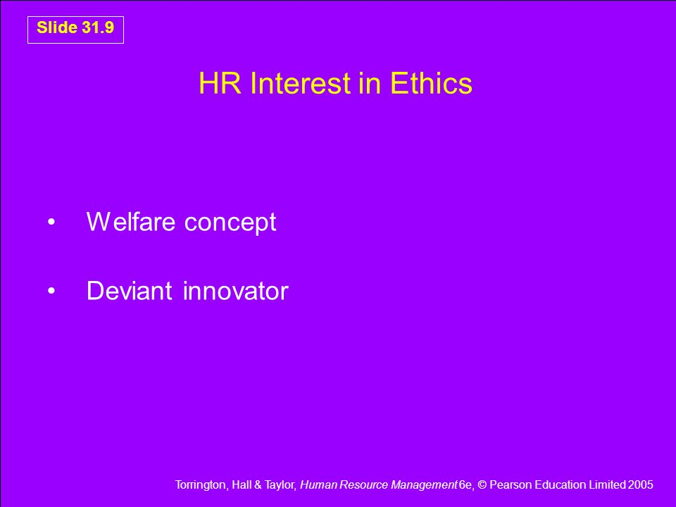 HR Interest in Ethics Welfare concept Deviant innovator