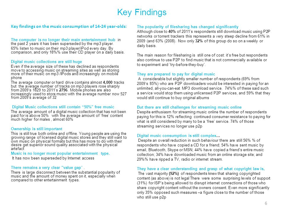 Key Findings Key findings on the music consumption of 14-24 year-olds: