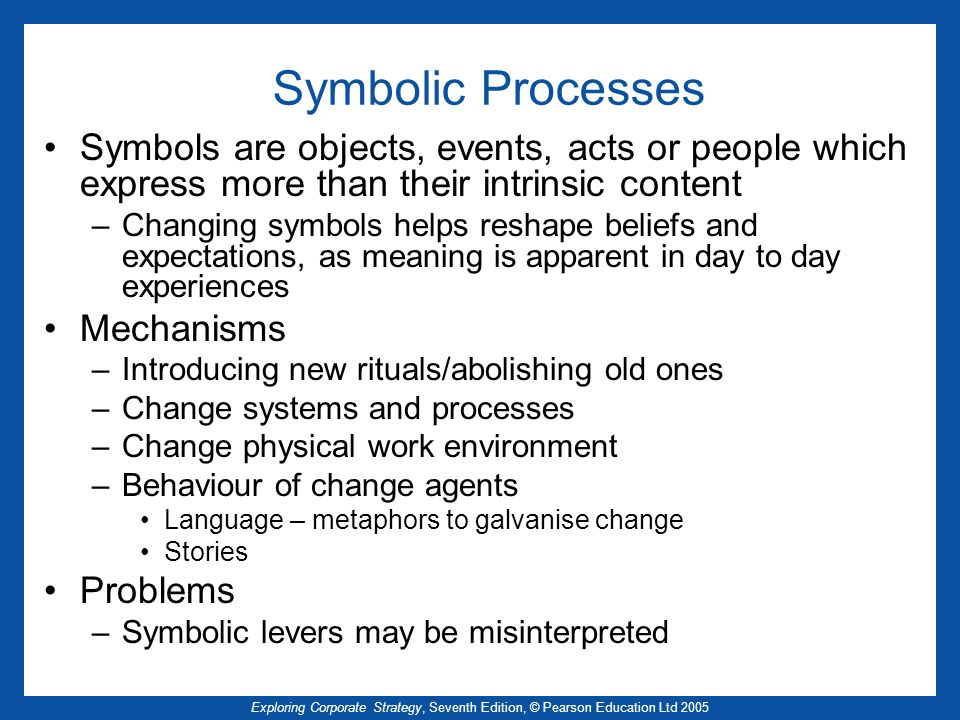 Symbolic Processes Symbols are objects, events, acts or people which express more than their intrinsic content.