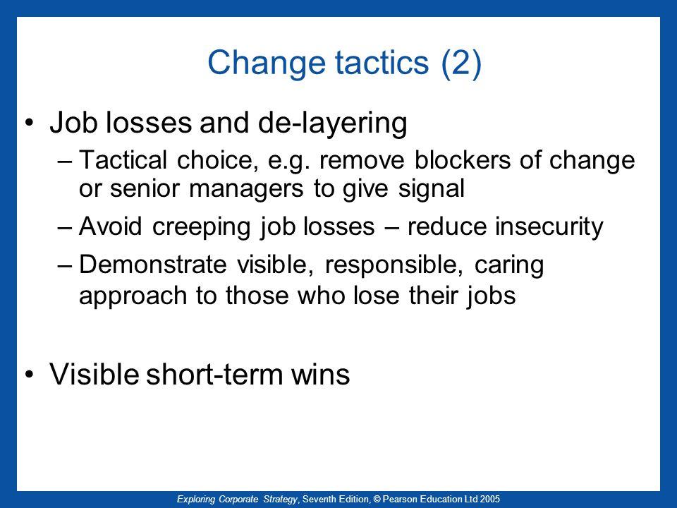 Change tactics (2) Job losses and de-layering Visible short-term wins