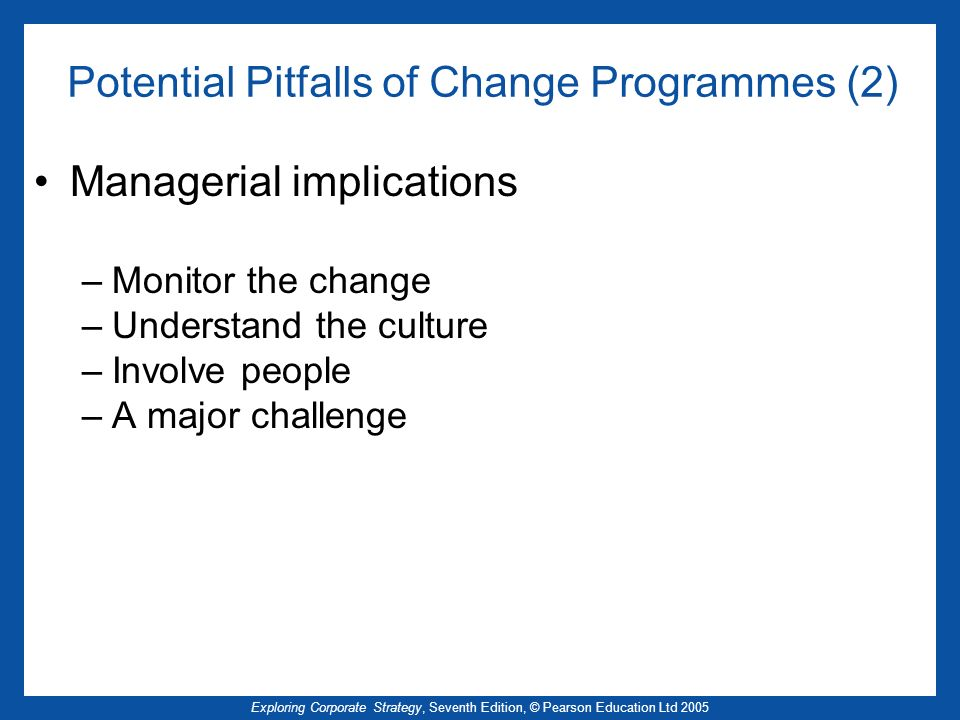 Potential Pitfalls of Change Programmes (2)