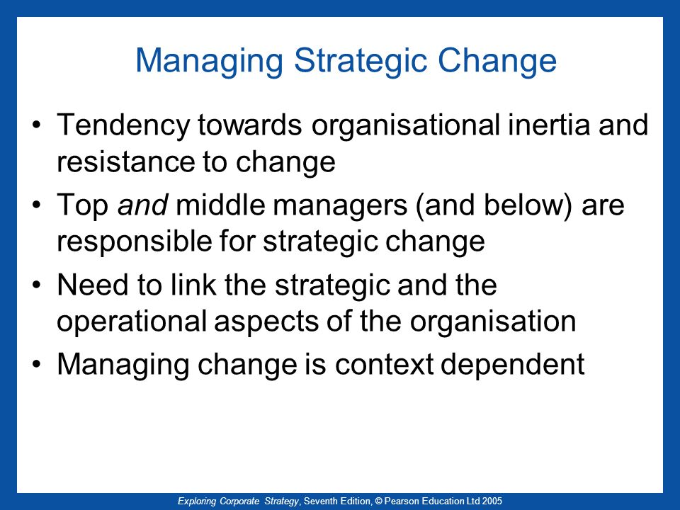 managing strategic change Managing change in the nhs making informed decisions on change key points for health care managers and professionals.