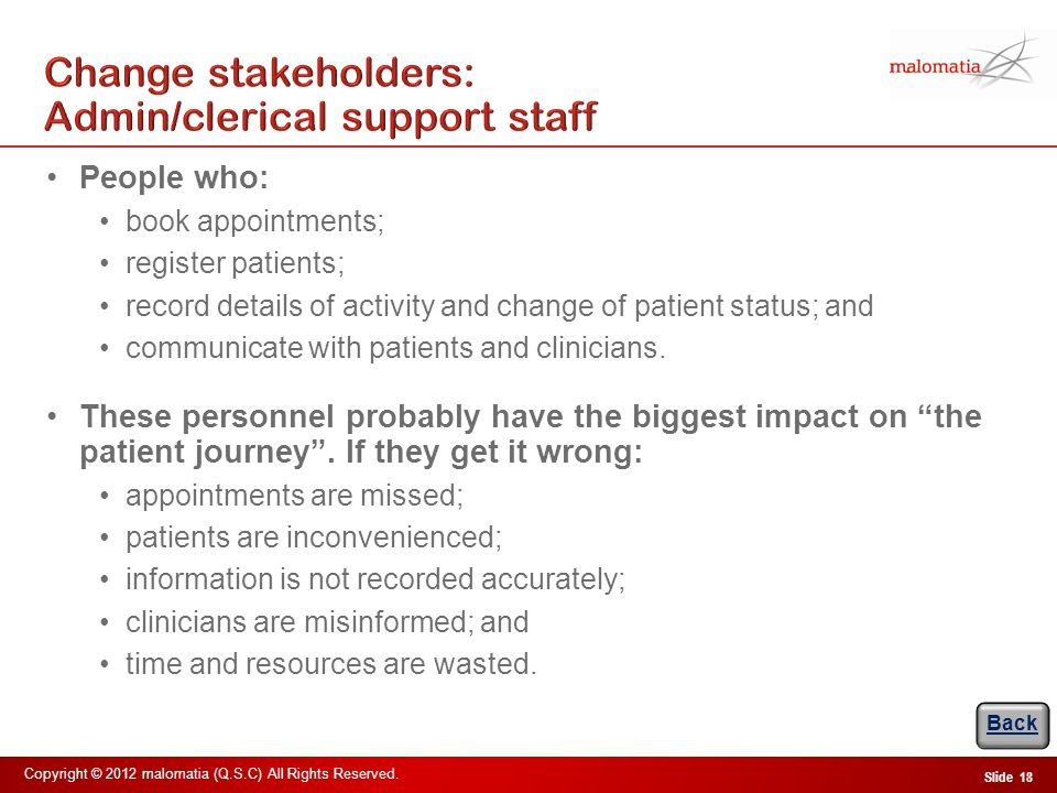 Change stakeholders: Nursing & allied health-professionals
