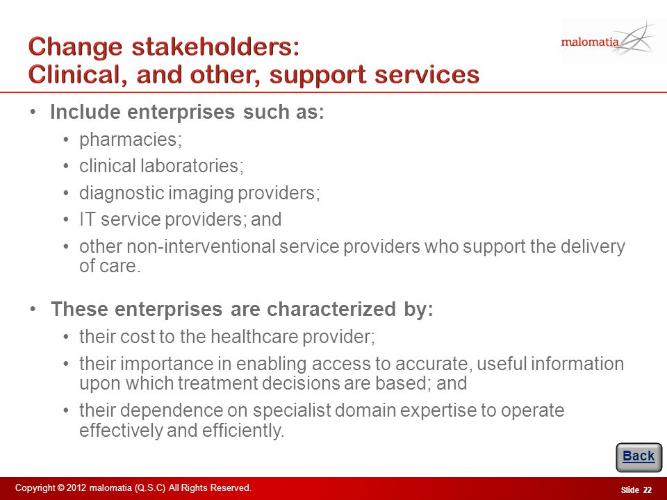 Change stakeholders: Provider Management Team