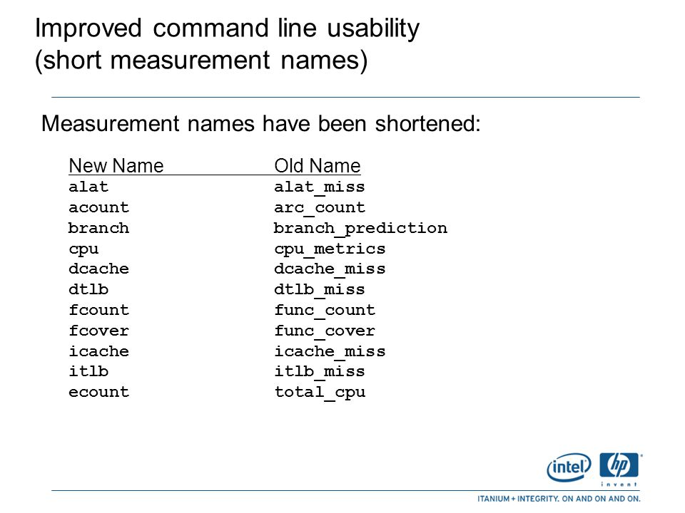 Improved command line usability (short measurement names)