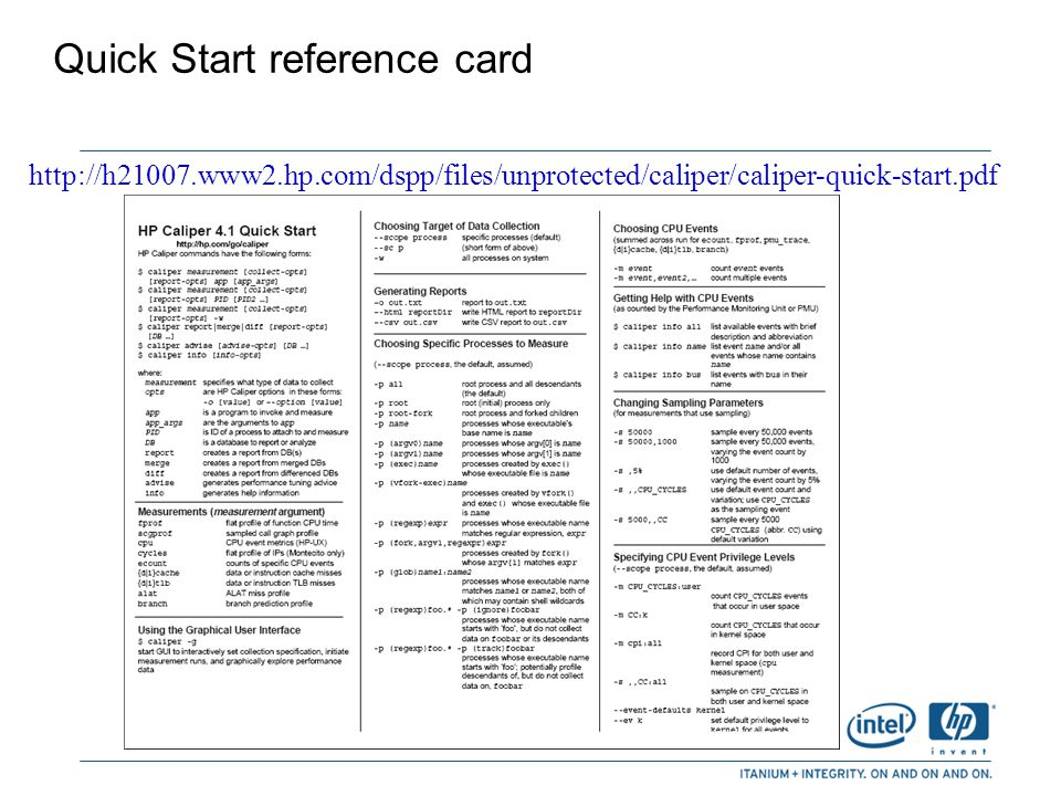 Quick Start reference card