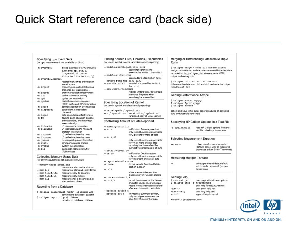 Quick Start reference card (back side)
