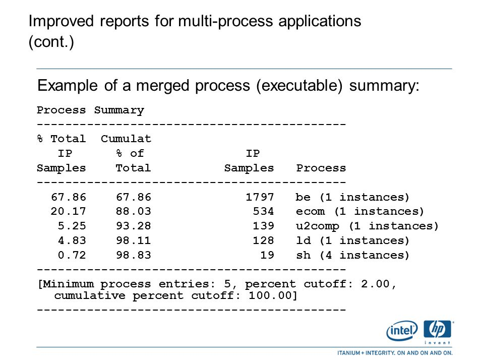 Improved reports for multi-process applications (cont.)