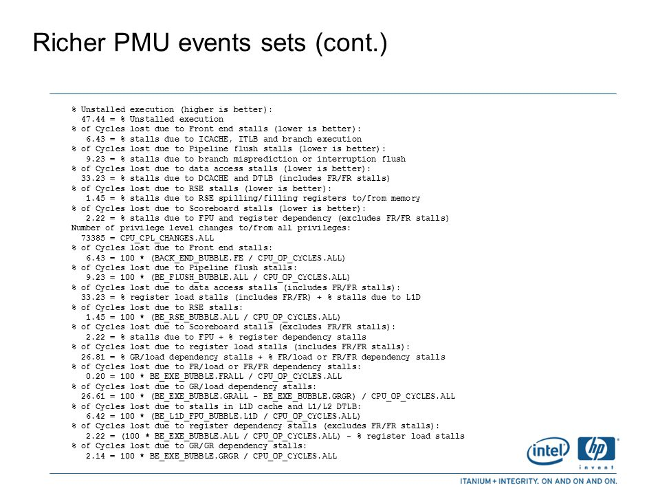 Richer PMU events sets (cont.)