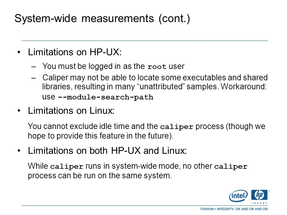 System-wide measurements (cont.)