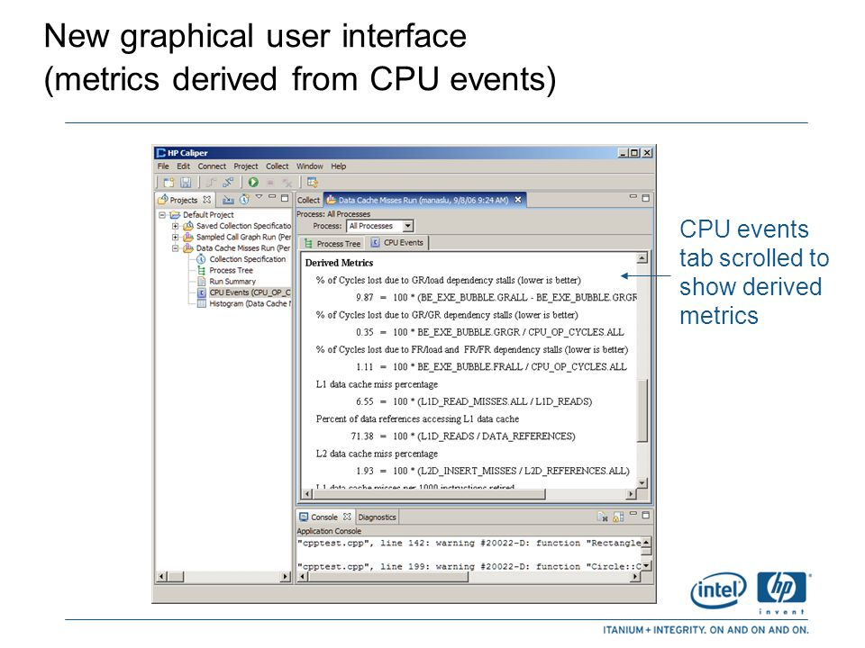 New graphical user interface (metrics derived from CPU events)