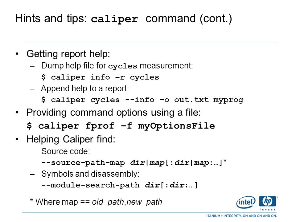 Hints and tips: caliper command (cont.)