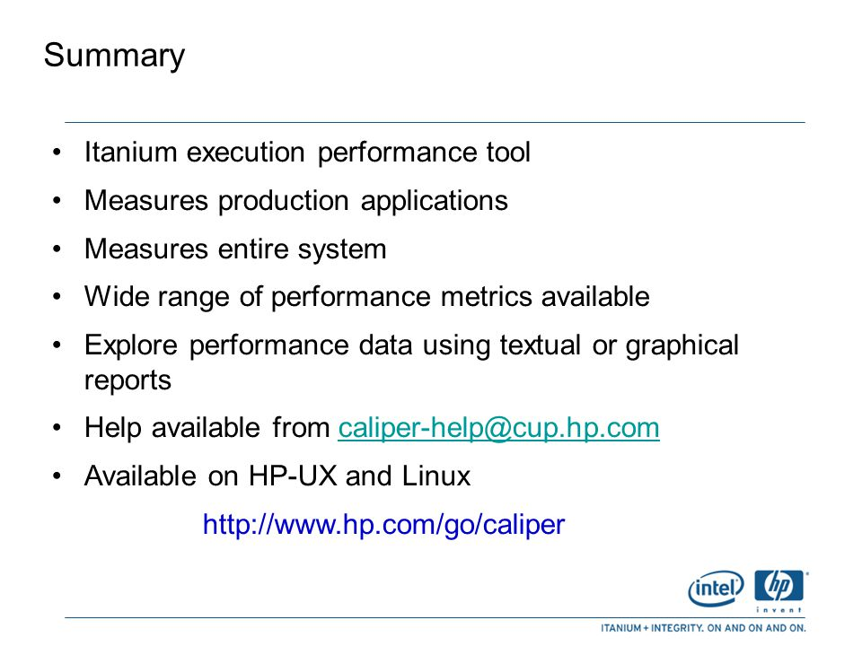 Summary Itanium execution performance tool