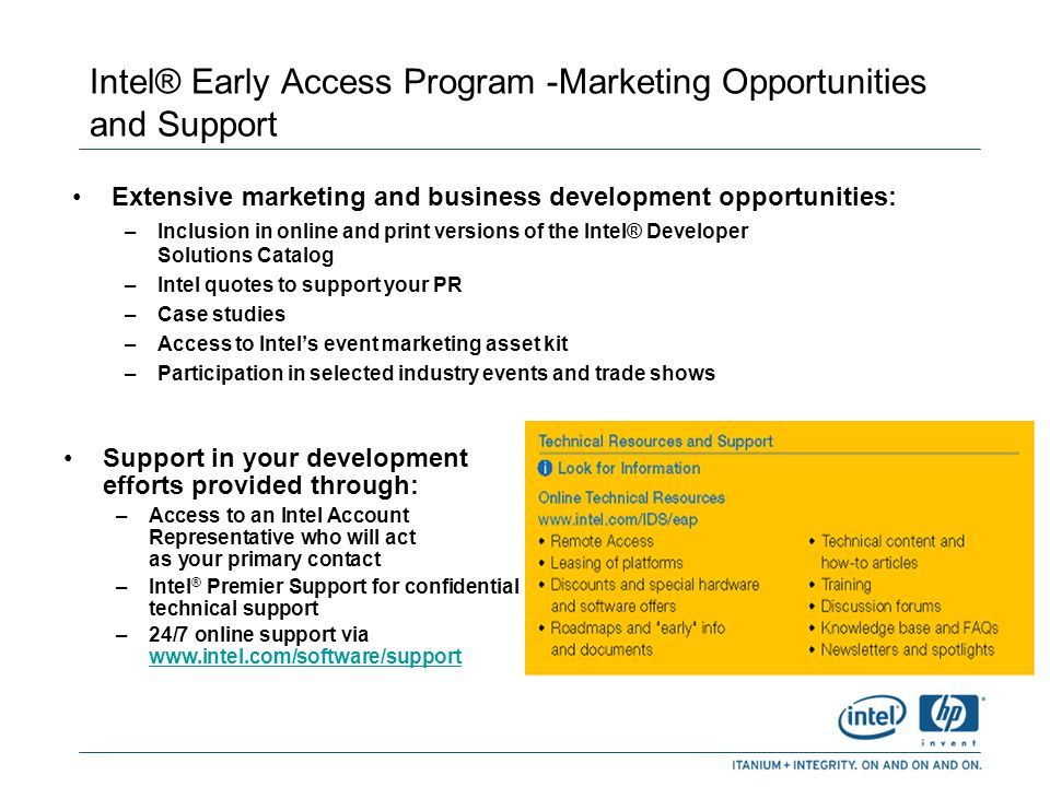 Intel® Early Access Program -Marketing Opportunities and Support