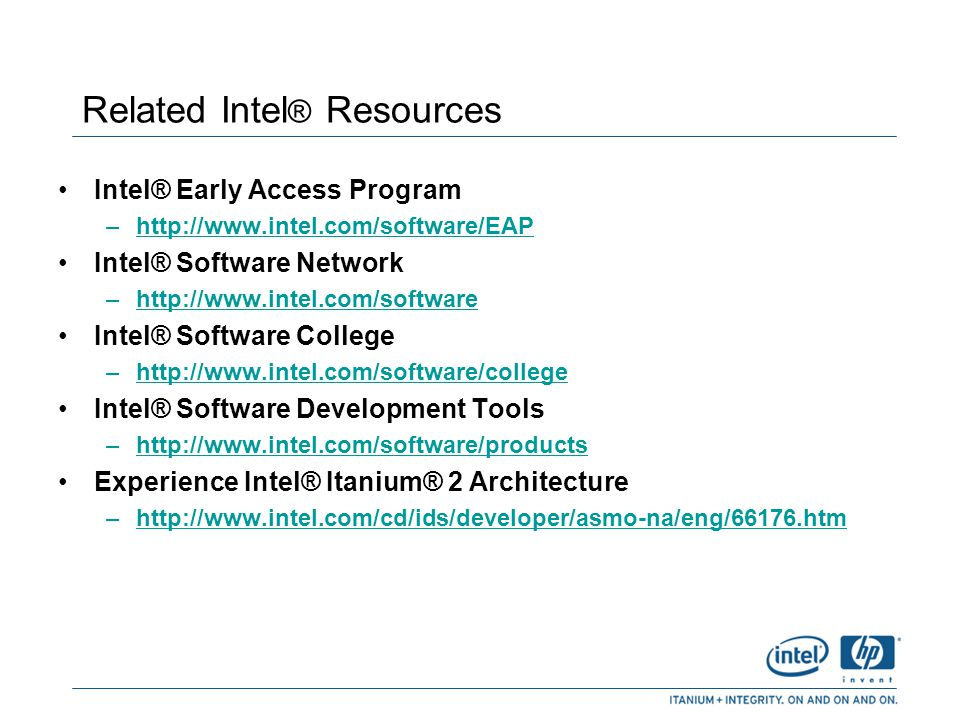 Related Intel® Resources