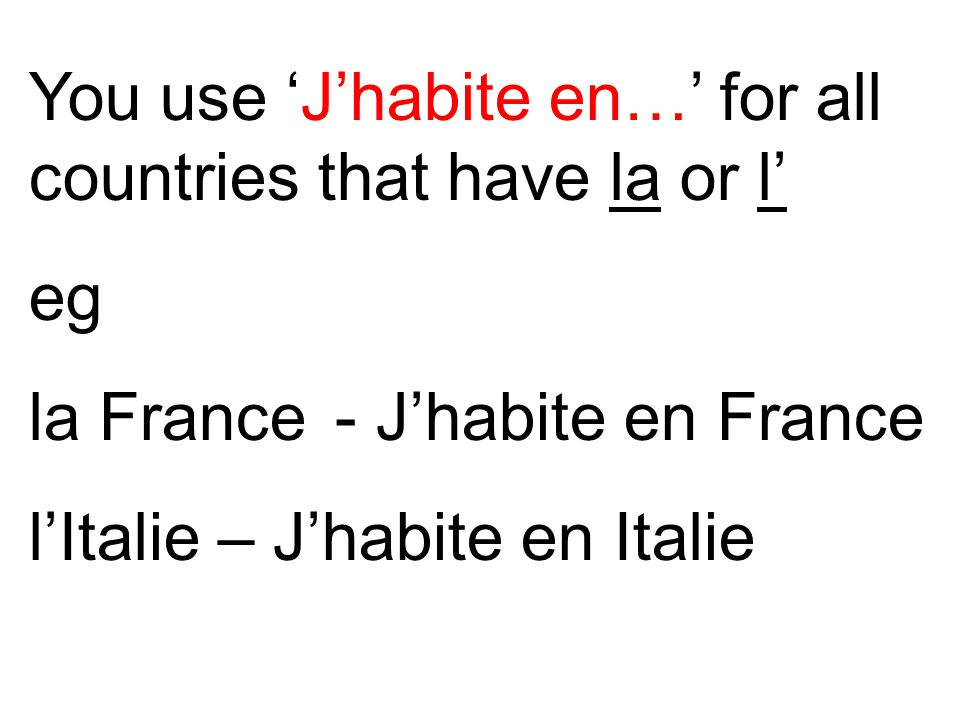 You use 'J'habite en…' for all countries that have la or l'