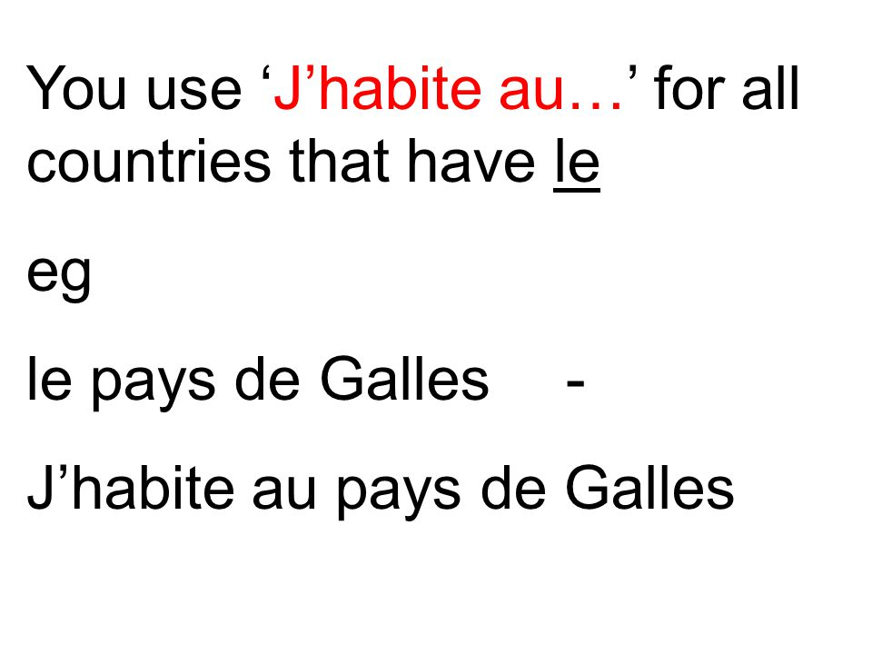 You use 'J'habite au…' for all countries that have le