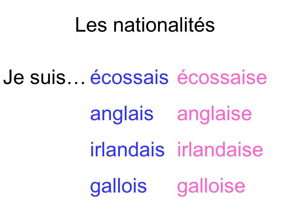 Les nationalités Je suis… écossais écossaise. anglais anglaise.