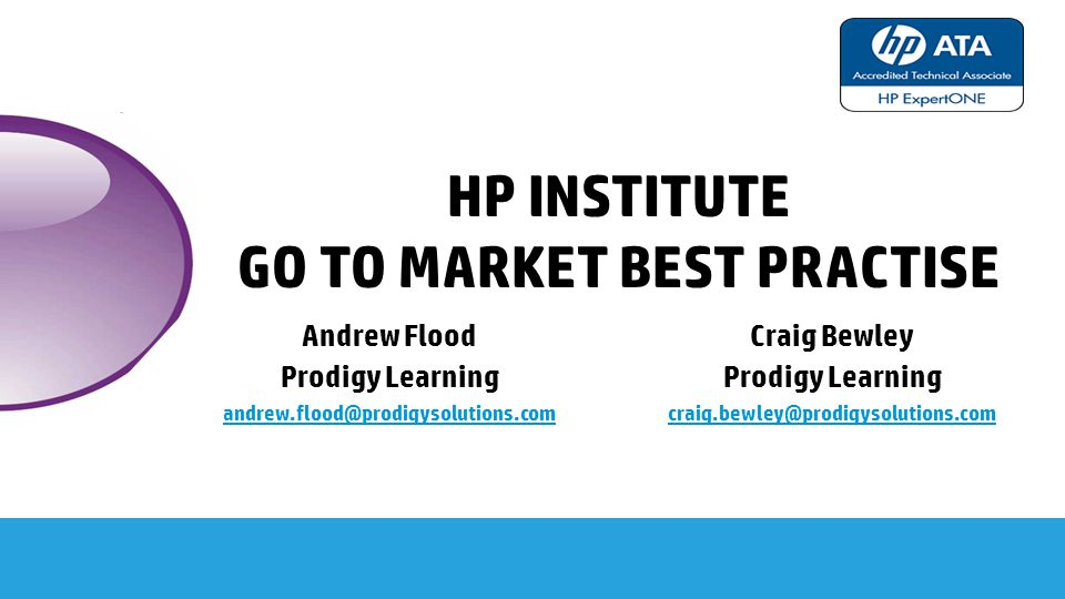hp institute Go to market best practise