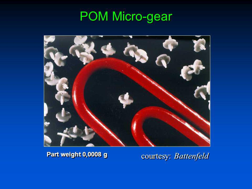 POM Micro-gear courtesy: Battenfeld Part weight 0,0008 g