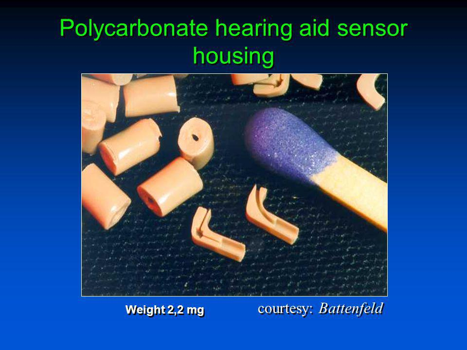 Polycarbonate hearing aid sensor housing