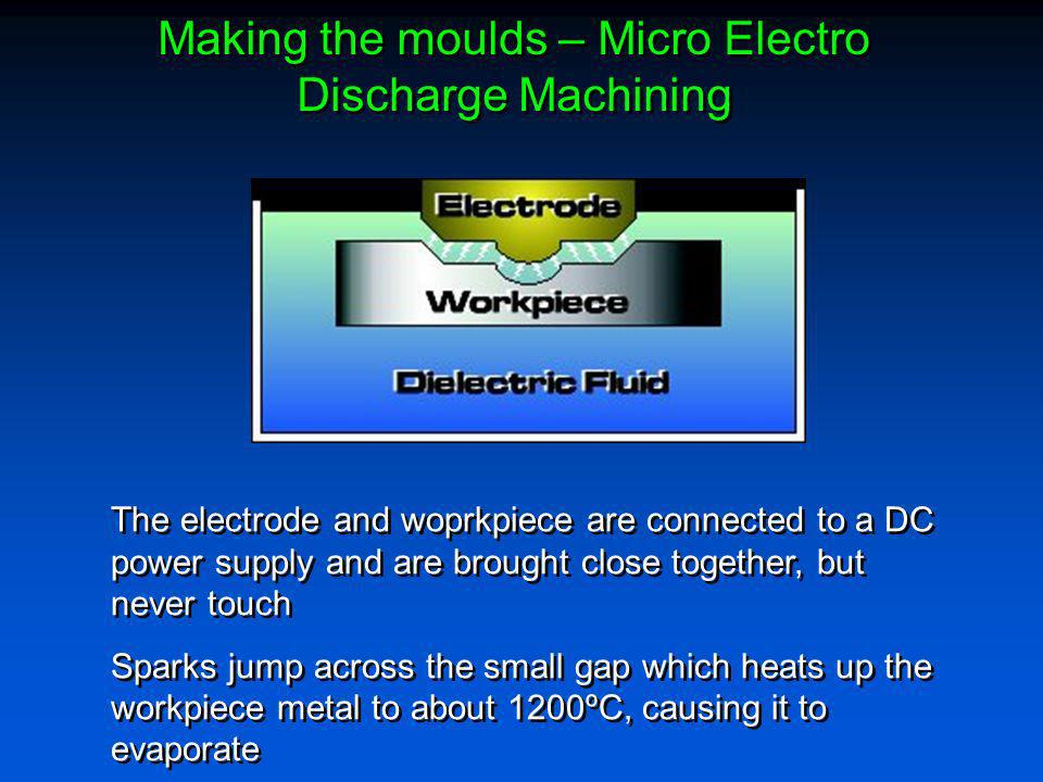 Making the moulds – Micro Electro Discharge Machining