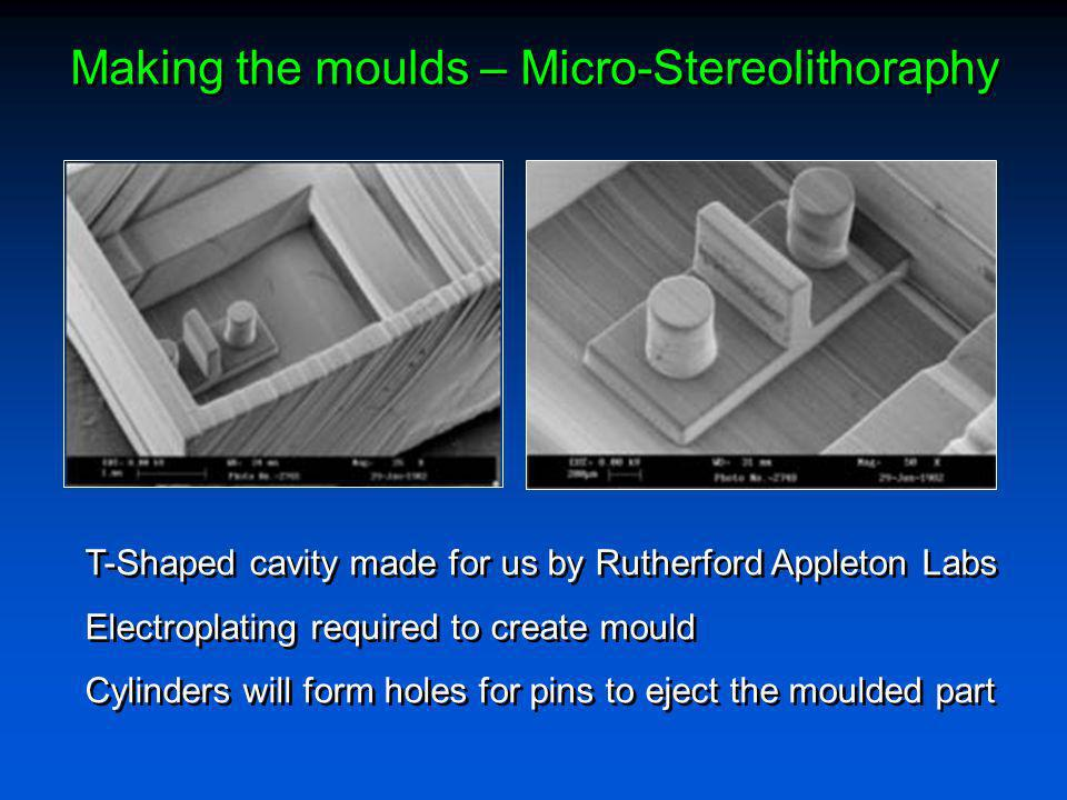 Making the moulds – Micro-Stereolithoraphy