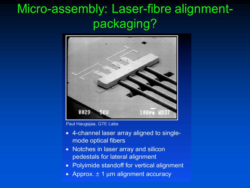 Micro-assembly: Laser-fibre alignment- packaging