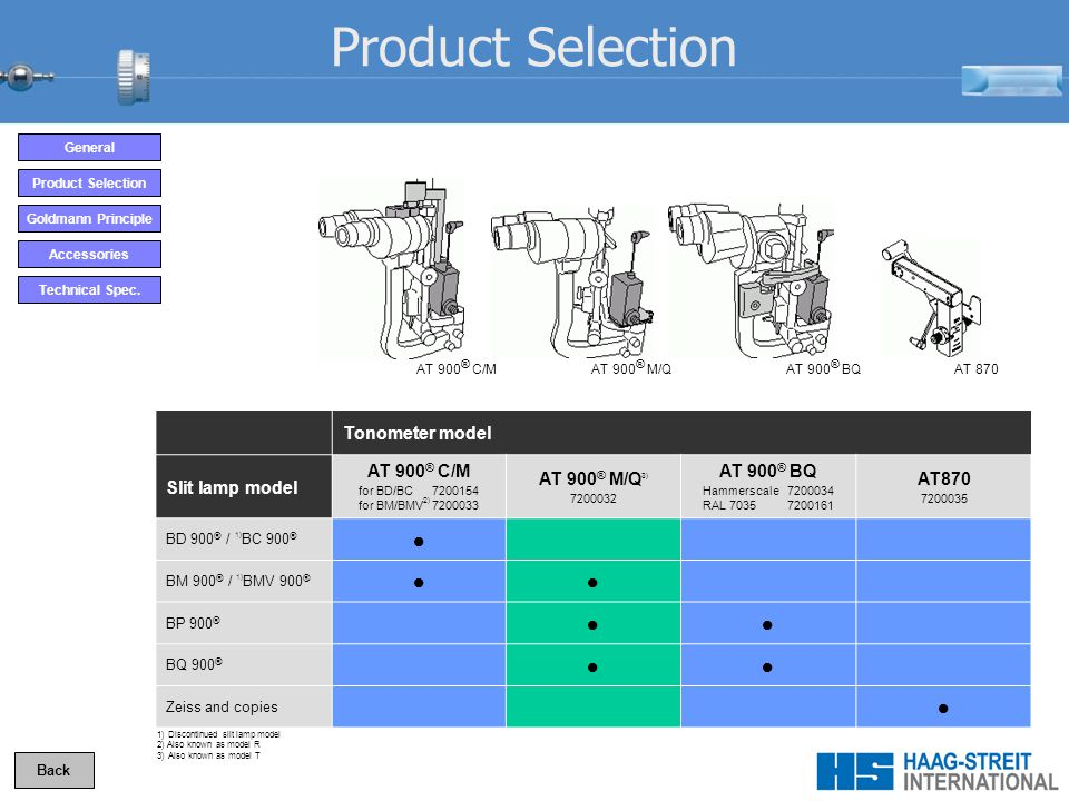 Product Selection  Tonometer model Slit lamp model AT 900® C/M