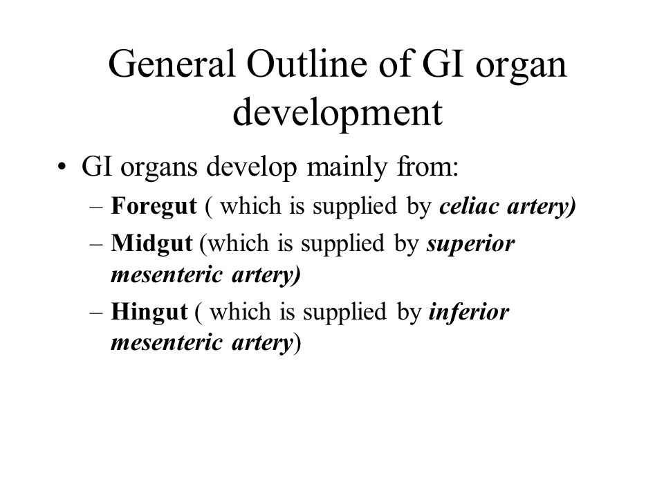 General Outline of GI organ development
