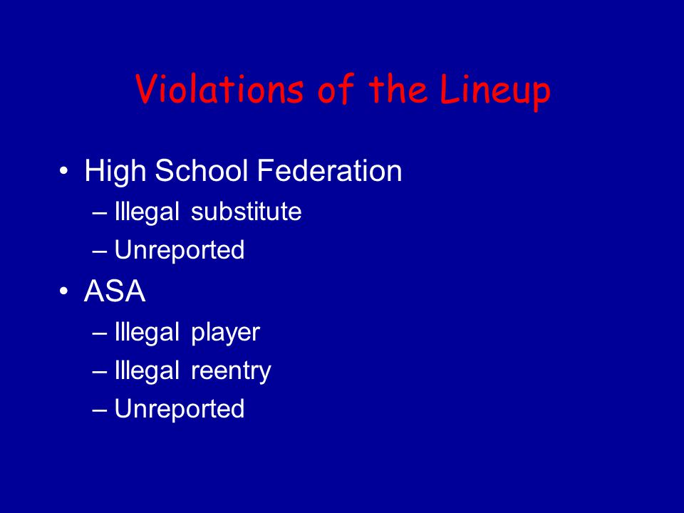 Violations of the Lineup